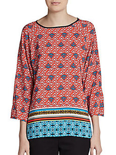 Ellen Tracy Printed Three-Quarter Sleeve Tunic