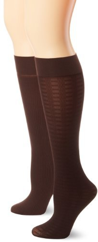 Jones New York Women's 2 Pair Pack Textured Plaid Rib Opaque Trouser Socks