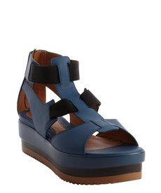 Fendi blue and black strappy open toe rear zip sandals