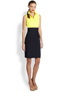 Akris Punto Two-Tone Cummerbund Dress