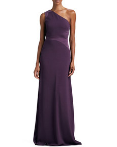 David Meister One-Shoulder Open-Back Gown