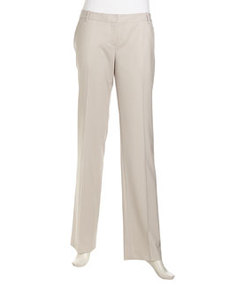 Lafayette 148 New York Modern Straight-Leg Suiting Pants, Khaki