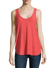 James Perse Slub Knit Baseball Tank Top, Rouge