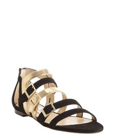 Jimmy Choo black and gold suede leather accent buckle detail sandals