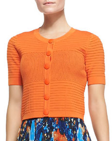 Catherine Malandrino Short-Sleeve Pointelle Cropped Cardigan