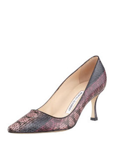 Newcio Snakeskin Pointed-Toe Pump, Pink/Brown   Newcio Snakeskin Pointed-Toe Pump, Pink/Brown