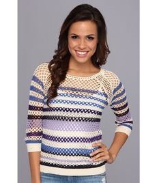 Lucky Brand Mesh Striped Sweater