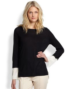 Saks Fifth Avenue Collection Silk/Cashmere Contrast Top