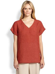 Lafayette 148 New York Short-Sleeve Linen Tunic