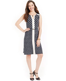 Jones New York Sleeveless Printed Colorblocked Dress