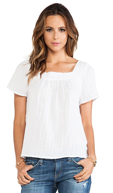 Michael Stars Short Sleeve Square Neck Blouse in White