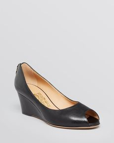 Salvatore Ferragamo Peep Toe Wedge Pumps - Pearlette