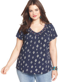 Lucky Brand Plus Size Printed Cutout-Back Top