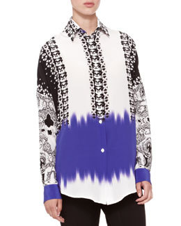 Mix-Print Oversized Blouse   Mix-Print Oversized Blouse