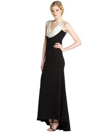 Carmen Marc Valvo black stretch crepe beaded cowl gown