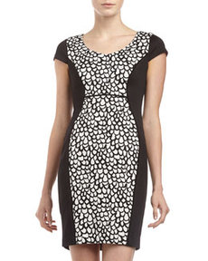Marc New York by Andrew Marc Cap-Sleeve Print-Inset Dress, Black/White