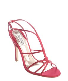 Badgley Mischka raspberry satin strappy sandals