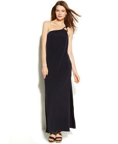 MICHAEL Michael Kors One-Shoulder Hardware Maxi Dress