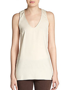 Brunello Cucinelli Silk-Georgette V-Neck Tank
