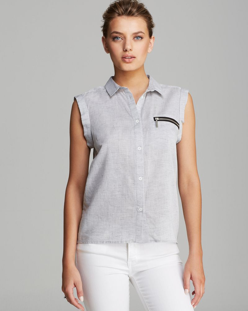FRENCH CONNECTION Blouse - Austin Linen Button Down