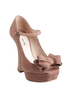 Miu Miu rose suede bow detail curved heel platforms