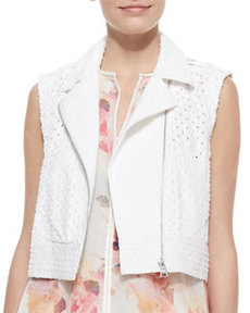 Perforated Cropped Denim Moto Vest   Perforated Cropped Denim Moto Vest