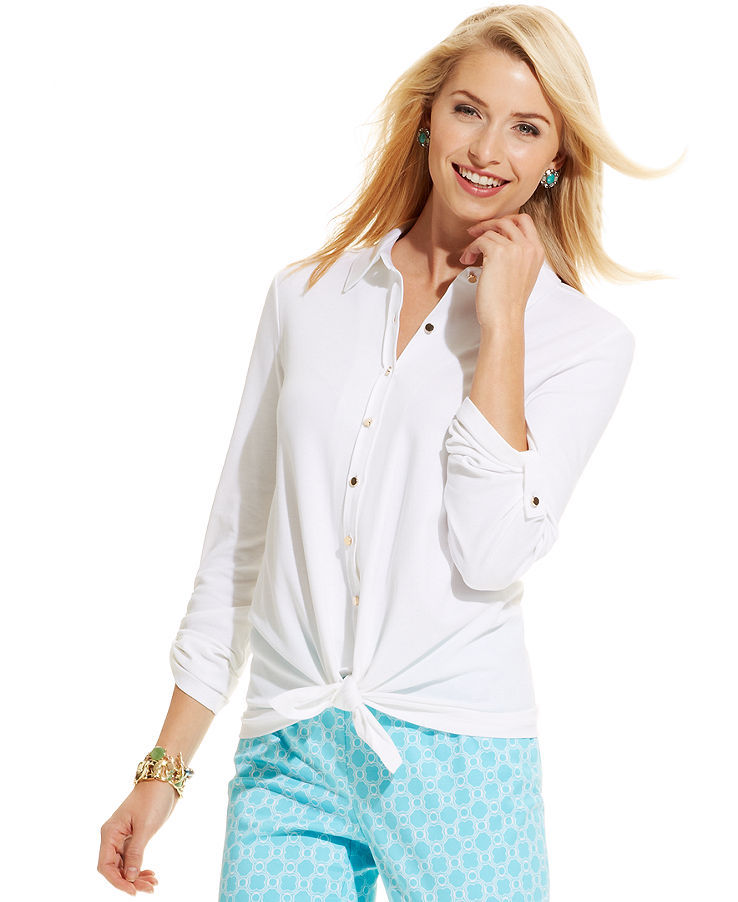 Charter Club Petite Button-Down Tie-Front Top