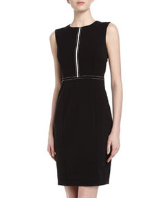 Marc New York by Andrew Marc Sleeveless Ribbon Trim Sheath Dress, Black