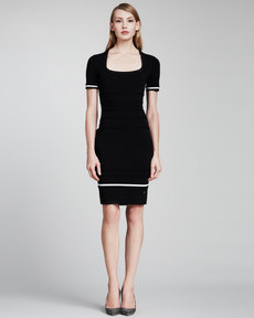 Escada Short-Sleeve Knit Dress, Black