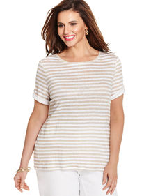 Charter Club Plus Size Linen Short-Sleeve Striped Top