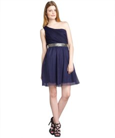 Max & Cleo midnight tulle beaded one shoulder 'Briana' party dress