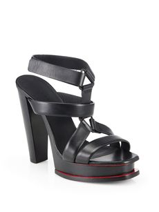 Jil Sander Leather T-Strap Platform Sandals