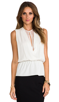 Robert Rodriguez Lace Illusion Top in Ivory