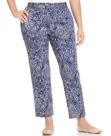 Charter Club Plus Size Paisley-Print Straight-Leg Ankle Pants