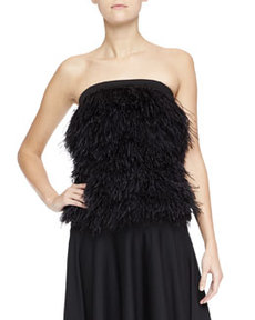 Robert Rodriguez Ostrich Feather Top, Black
