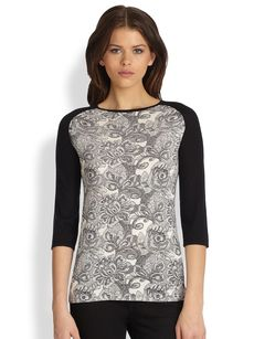 Saks Fifth Avenue Collection Silk-Cashmere Lace-Printed Pullover