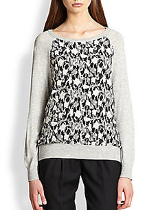 Joie Printed-Panel Dolman-Sleeved Sweatshirt