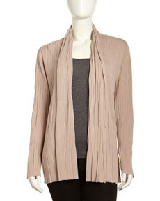 Lafayette 148 New York Multi-Pleat Shawl-Collar Cardigan, Light Beige
