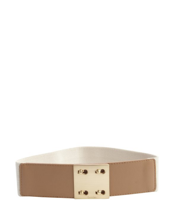 Calvin Klein khaki and brown synthetic leather stretch grosgrain goldtone buckle belt