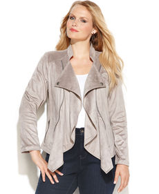 INC International Concepts Plus Size Long-Sleeve Drape-Front Jacket