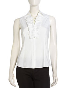 Lafayette 148 New York Sleeveless Ruffle Button-Down Blouse, White