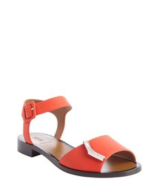 Fendi poppy leather gold detail anklestrap flat sandals