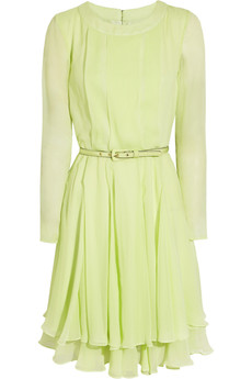 Oscar de la Renta Pleated silk-chiffon dress