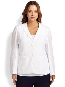 Eileen Fisher, Sizes 14-24 Linen Contrast-Knit Jacket