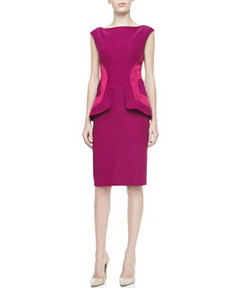 Side-Seamed Peplum Sheath, Fuchsia   Side-Seamed Peplum Sheath, Fuchsia