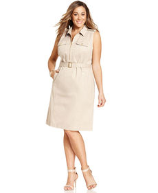 Jones New York Signature Plus Size Sleeveless Safari Dress