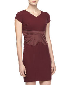 Marc New York by Andrew Marc Satin-Waist Sheath Dress, Port