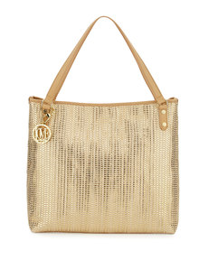 Moschino Borsa Metallic Woven PVC Tote Bag, Gold/Beige