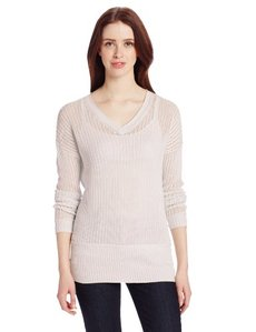 Calvin Klein Jeans Women's Open Knit V-Neck Tunic