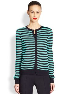 Akris Punto Striped Mesh Knit Cardigan